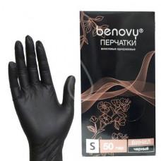Benovy перчатки для депиляции виниловые размер «S», черные 50 пар (100 шт.)