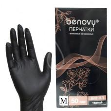 Benovy перчатки для депиляции виниловые размер «M», черные 50 пар (100 шт.)